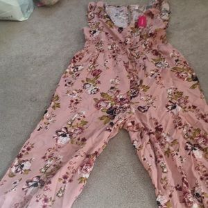 Pink Floral Jumpsuit, New With Tags